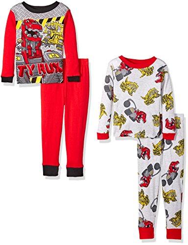 DinoTrux Boys' Toddler Boys' 4-Piece Cotton Pajama Set with Dino, Red/Grey, 4T