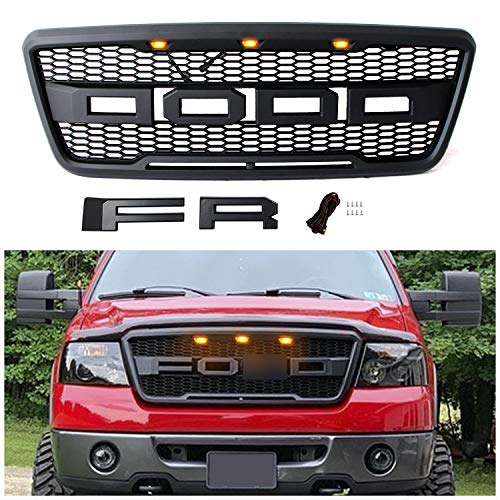 Seven Sparta Front Grill for F150 2004 2005 2006 2007 2008 Raptor Style Grill, Grille Replacement for Ford (Matte Black)