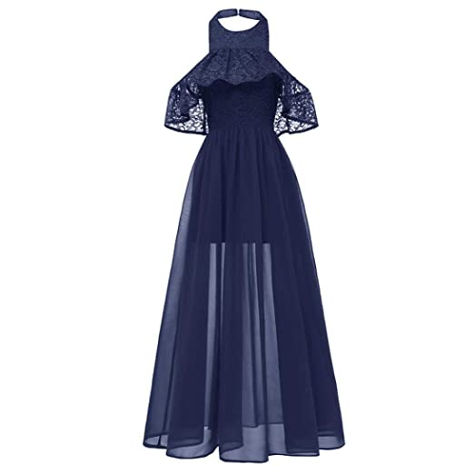 Vibola Women Long Dresses for Church, O-Neck Cold Shoulder Lace Cocktail Party Dress