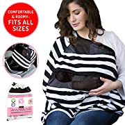Organic Large Cotton Nursing Cover – 6-in-1 Design for Car Seats, Strollers and Doubles as Stylish Scarf – Convenient Mesh Inserts Provide Eye Contact and Ventilation by The Stork and I