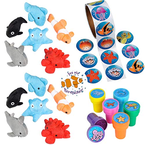 Roll Fish Stickers - Sea Animal Party Favors 24 - Plush Mini Ocean Animals (24), Sea Creature Stampers (24), Ocean/Fish Stickers (Roll 100) a Birthday Sticker (Total 149 Pieces)