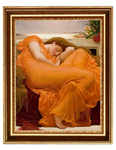 Eliteart-Flaming June By Frederic Leighton Composition Oil Painting Reproduction Giclee Wall Art Canvas Prints-Framed (Flaming June Framed Print)