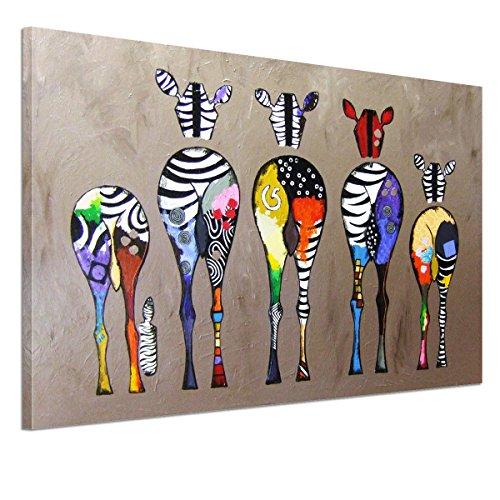 UNIQUEBELLA 75*50 LEINWAND BILDER! FERTIG AUFGESPANNT handgemalte Bilder Ölgemälde Leinwand Mehrfarbig Zebras Landschaft Gemälde Wohnkultur Dekor