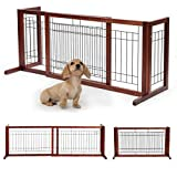Adjustable Wooden Dog/Pet Gate Solid Wood Free Standing Indoor Extra Wide Pet Gate W/Side Panel,for Indoor Home & Office Use