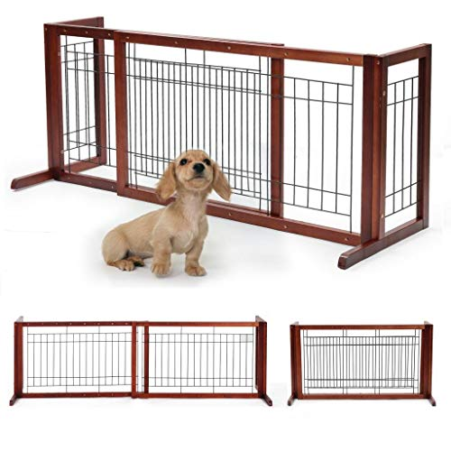 (Adjustable Wooden Dog/Pet Gate Solid Wood Free Standing Indoor Extra Wide Pet Gate W/Side Panel,for Indoor Home & Office Use)