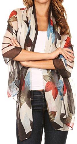 Sakkas CQSXS-7 - Nichole summer gauze featherweight patterned versitile sheer scarf wrap - 7-Black/White - OS - Sheer Floral Scarf