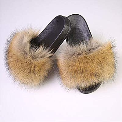 LSWJS Women's Vegan Faux Fur Slippers Fuzzy Slides Fluffy Sandals Open Toe Indoor Outdoor