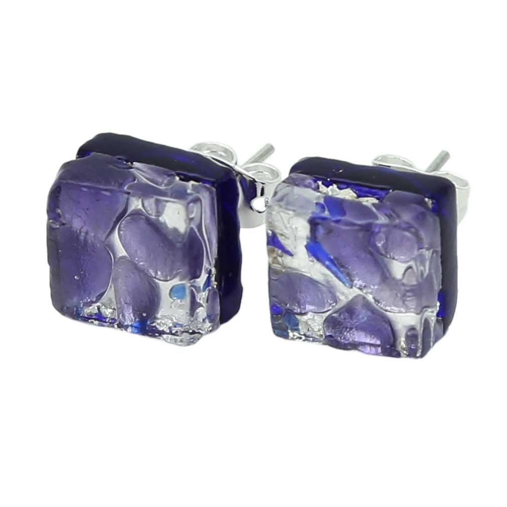 GlassOfVenice Murano Glass Venetian Reflections Square Stud Earrings - Periwinkle by GlassOfVenice