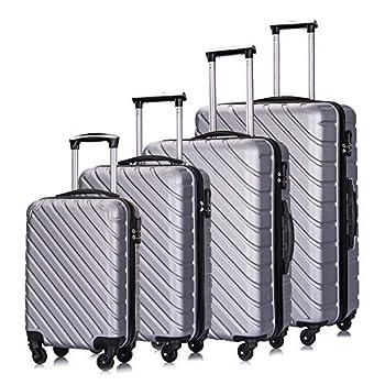 Image of Luggage Luggage Sets, Semper 4 Piece Luggage Set Suitcases with Spinner Wheels Hardshell Lightweight Luggage 18' 20' 24' 28'