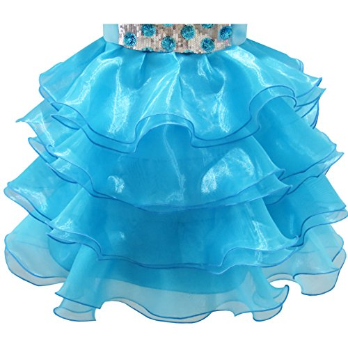 Princess Blue Sequin Birthday Dress Tiered Party Dress Tulle Ruffles Girls qx8vzn