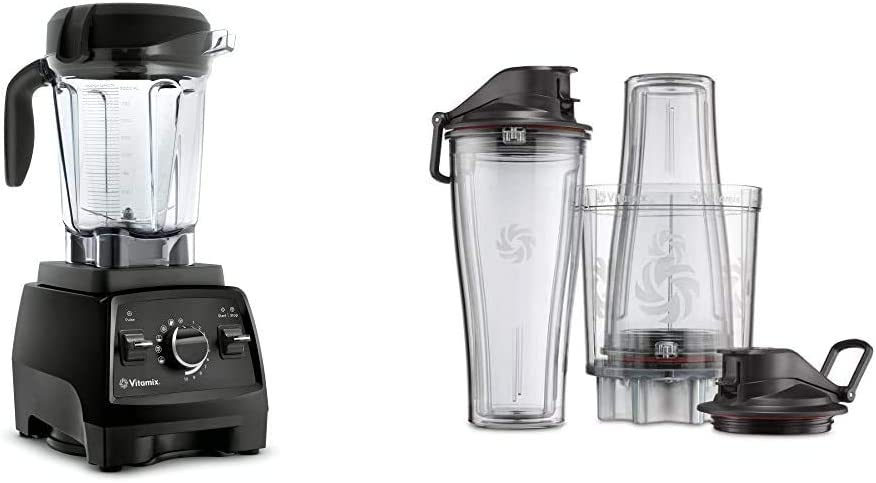 Vitamix Professional Series 750 Blender, Professional-Grade, 64 oz. Low-Profile Container, Black, Self-Cleaning - 1957 & Personal Cup Adapter - 61724