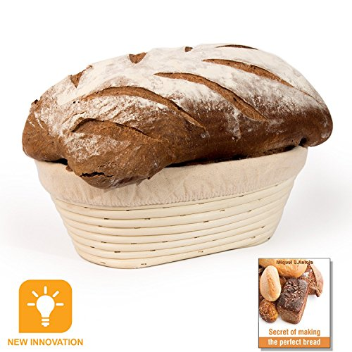 Mallaca Anti-Mold Mildew New Innovation 9.75 inch Oval Banneton Proofing Basket & Brotform Cloth Liner, Natural Rattan Ebook Gift (Oval Rattan)