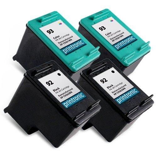 Printronic Remanufactured Ink Cartridge Replacement for HP 92 HP 93 (2 Black, 2 Color)