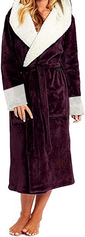 Vestaglia Lunga Donna in Pile con Cappuccio Manica Lunga Camicia da Notte con Cintura Patchwork Maglieria Accappatoi Super Soft Touch Accappatoi con Tasca