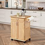 Paneled Door Kitchen Cart with Natural Finish by Home Styles