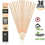 EnvyDeal Mosquito Repellent Sticks Insect Incense Natural DEET Free (36 Pack) Indoor Bamboo Infused Citronella, Lemongrass Rosemary Each Stick Burns 1 1/2 Hours