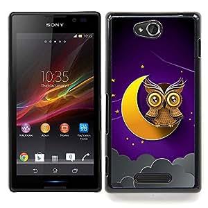 - crescent moon yellow owl brown night sky/ Duro Snap en el tel??fono celular de la cubierta - Cao - For Sony Xperia C S39h C2305