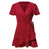 Jentouzz Polka Dot Dress, Women Summer V Neck Bow Ruffles Bohe Party Wrap Dress Mini Dress (L, Red)