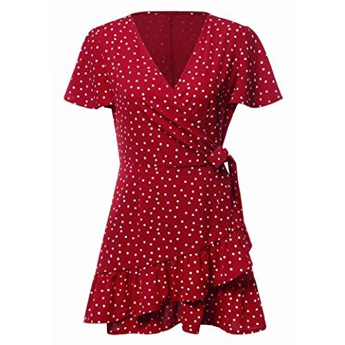 Jentouzz Polka Dot Dress, Women Summer V Neck Bow Ruffles Bohe Party Wrap Dress Mini Dress (L, Red) by Jentouzz