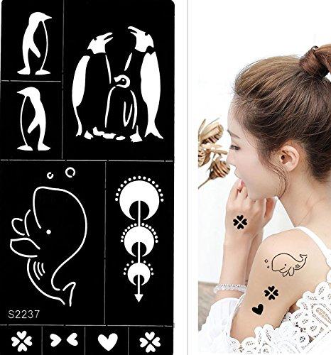TATTOO Schablone Pinguin Wal Designs S2237 für Körperbemalung Beyond