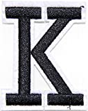 2' (A-Z select in detail) English Letter Character Alphabet Patch Sew Iron on Embroidered Applique Craft Handmade DIY Costume Cloth Accessories (K 1.7'widex2'tall)