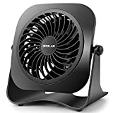 OPOLAR 4 inch Mini USB Desk Fan, 2 Speeds, Lower Noise, USB Powered, 360° up Down, 3.8 ft Cable, Powerful Black Fan Home Office