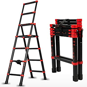Aluminum Expansion Ladder,Contraction Ladder One-Button Sliding Retraction,Adjustable Folding Ladder A-Frame,330 Lbs Weight for Household RV Work 5+7 Multi-Position Telescoping Ladder 5+7