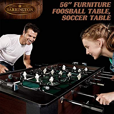 Barrington 56 Inch Premium Furniture Foosball Table, Soccer Table, Sturdy Leg Construction, Includes 2 Balls, Black/Brown : Sports & Outdoors