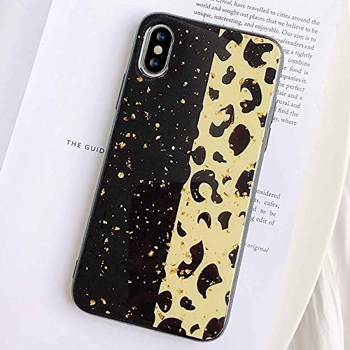 for iPhone 6 Plus/ 6S Plus Case LAPOPNUT Cute Glitter Leopard Case Shockproof Slim Fit Soft Silicone Girls Luxury Cheetah Cat Pattern Protective Cover Phone Cases for iPhone 6 Plus/ 6S Plus Black (Black Cover Leopard)
