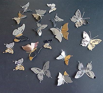 Amazon.com: Set 18pcs Silver Color Stainless Butterflies 3d ...