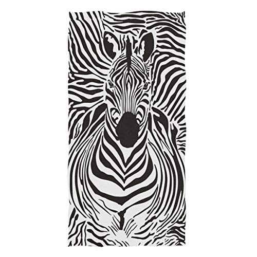 Naanle Stylish Zebra Pattern Soft Highly Absorbent Large Decorative Hand Towels Multipurpose for Bathroom, Hotel, Gym and Spa (16 x 30 Inches,White Black)