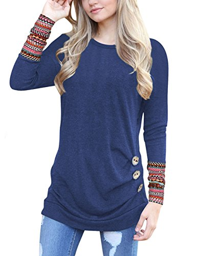 Weant Women Sweatshirt Polyester Long Sleeve Button Pullover Sweatshirt Sweater Jacket Coat Tunic Plus Size Tops Jumper Womens Sale Clearance Teen Girl T Shirt Dresses (Blue 1, L)