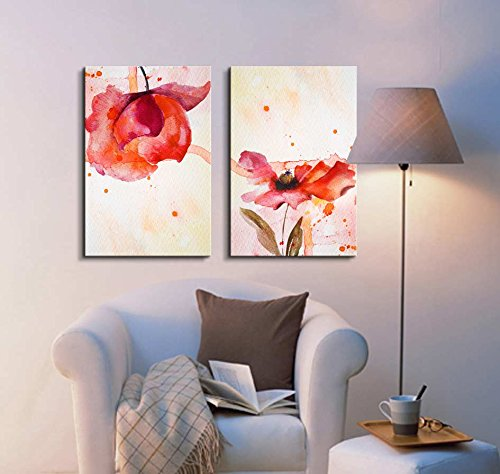 Set of 2 Peony in Red Watercolor King of Flowers Home Deoration Wall Decor x 2 Panels