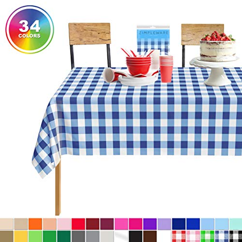 Disposable Checkered Tablecloths (Blue Gingham Checkered 12 Pack Standard Disposable Plastic Party Picnic Tablecloth 54 Inch. x 108 Inch. Rectangle Table Cover By)