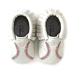 Baseball Printed Leather Moccasin Booties for babies and Toddlers • 100% American leather moccasins • Made in US