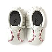 Baseball Moccasin Printed Stitch Design Moccasin Size 2 6-12 Month 100% American leather moccasins for babies & toddlers Made in US