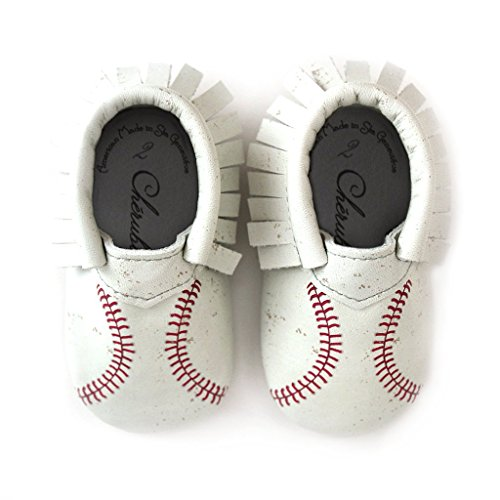 Baseball Moccasin Printed Stitch Design Moccasin Size 3 12-18 Month 100% American Leather Moccasins for Babies & Toddlers Made in US White