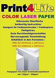 250 hojas 130g Laser Color A4. Brillante, dos caras de papel fotográfico para impresoras láser color y fotocopiadoras -. El papel fotográfico láser es ...