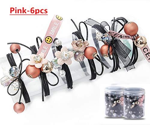 6pcs Girls Women Pearls lucky Bowknot Flower Hair Accessories Elastic Hair Ties Hair Ropes Fashion Headbands Ponytail Holders Hair Rings Hairband (Pink)
