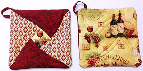 Handmade Reversible Quilted Potholders | Heat Resistant | Wine Design | Set includes 2 potholders -