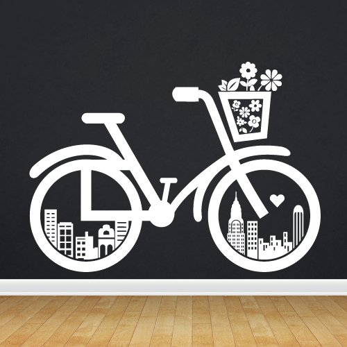 (Wall Decor Vinyl Sticker Decal Bike City Bicycle Wheel Velocipede Machine Flowers Journey Town Kid Baby Nursery Child Road (S154))