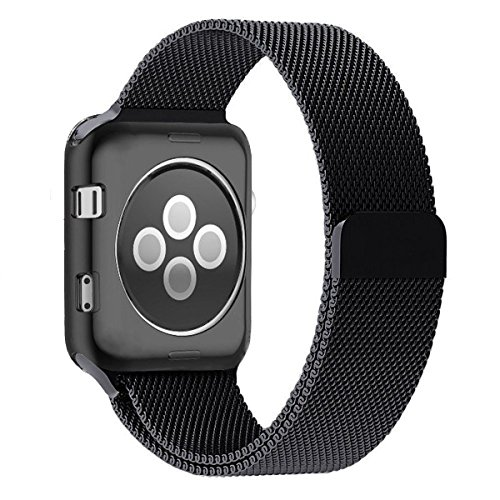 Apple Watch Band 38mm, Zyra Milanese Loop Stainless Steel Replacement Bracelet Strap with Plated TPU Scratch-Resistant Protective Bumper Cover for Apple Watch Series 2, Series 1