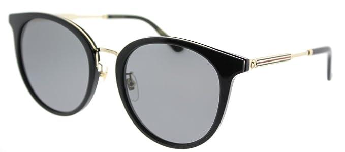 c1d163a11a Amazon.com  Gucci GG 0204SK 001 Black Plastic Fashion Sunglasses ...