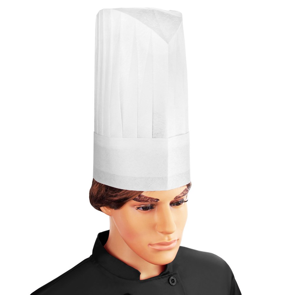 New Star 32185 Disposable Non Woven Round Chef Hat, 12-Inch, White, Set of 10 by New Star Foodservice (Image #1)