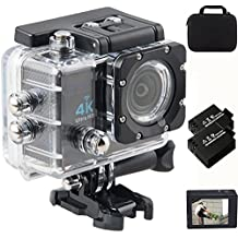 Action Camera 4k Ultra hd 2.0 Inch Lcd Screen 16MP 170 Degree Ultra Wide Angle Lens Wifi Waterproof Sport Camera Extra Rechargeable Batteries Hd Extreme Sports DV Storage Bag With Full Accessory Kit
