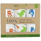 Wegreeco Organic Cotton Muslin Swaddle Blanket - Muslin Receiving Blanket-3 PACK