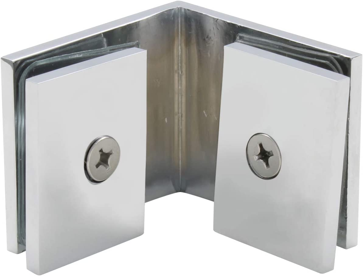 Chrome Square 90 Degree Glass-to-Glass Clamp