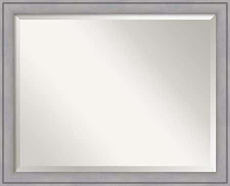 Wall Mirror Large, Graywash Wood Outer Size 31 x 25
