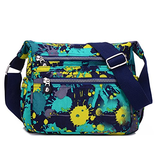 Crossbody Handbag for Women With Adjustable Shoulder Strap Multiple Zippered and Elastic Pockets | Organize Wallet, Passport, More Water Resistant Nylon Mix Color