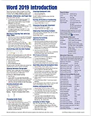 Microsoft Word 2019 Introduction Quick Reference Guide - Windows Version (Cheat Sheet of Instructions, Tips & Shortcuts - Laminated Card)